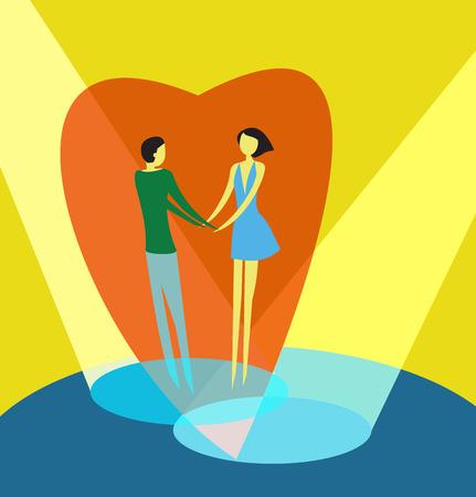 Illustration de couple d'amoureux tenant la main et le libellé «Je t'aime»