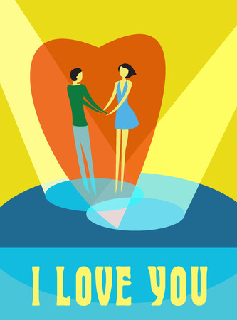 Illustration of loving couple holding their hand and wording I love you