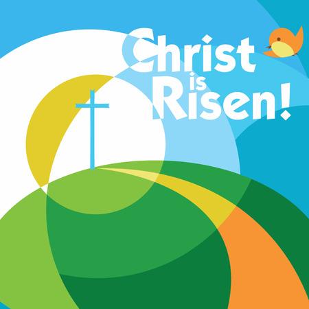 Le Christ est ressuscité Pâques carte de voeux Banque d'images