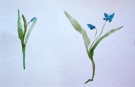 aquarelle de fleurs de printemps. Style asiatique.