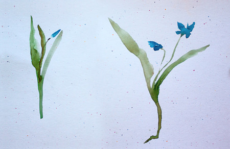 watercolor of spring flowers. Asian style.
