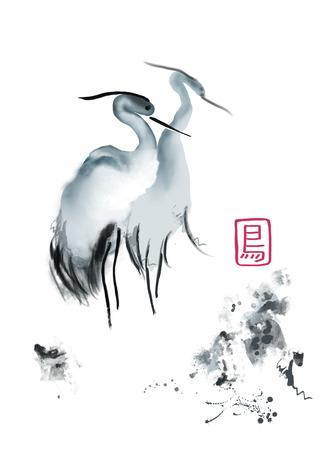 アジア クレーン鳥伝統的な水彩画 写真素材