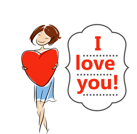 girl in love: Girl sign I love you