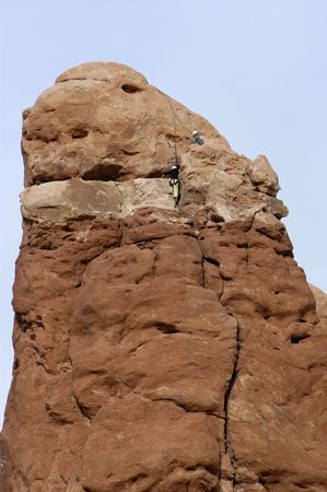 Some rock climbers in Arches National Park. Stock fotó
