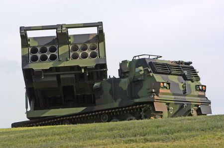 A missile launcher sitting on the grounds of Fort Sill near Lawton, Oklahoma. Imagens