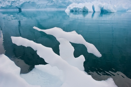 calving: a melting piece of ice floating along the frozen coasts of greenland