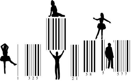 Different people in movement on barcode               photo