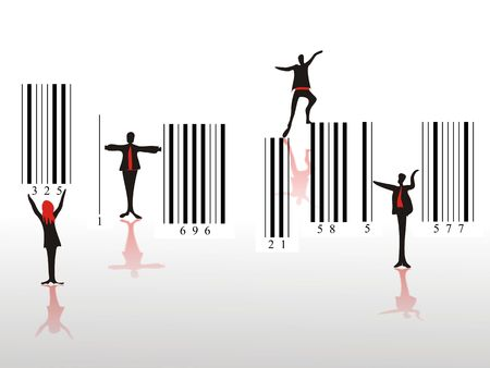 progressively: Different people in movement on barcode