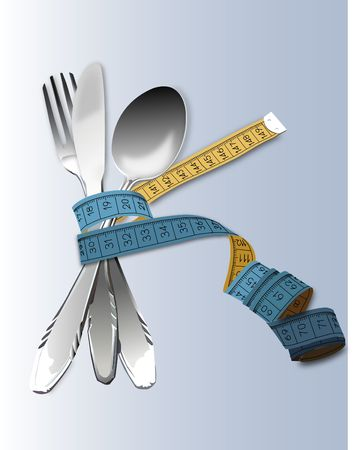 healty lifestyle: spoon, knife and  fork with tape measure