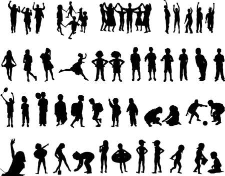 group jumping: silhouettes of children Illustration