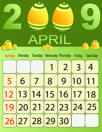 Calendars, New Year 2009, April, eastern eggs