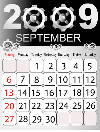 Calendars, New Year 2009, September, cogwheel  일러스트