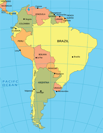 Politieke land kaart van Zuid-Amerika