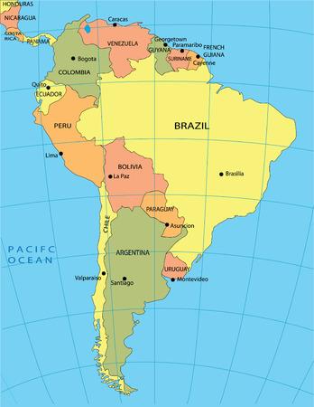 Politische Karte von Südamerika