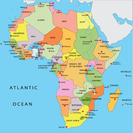 cartina africa: Mappa politica d'Africa Vettoriali