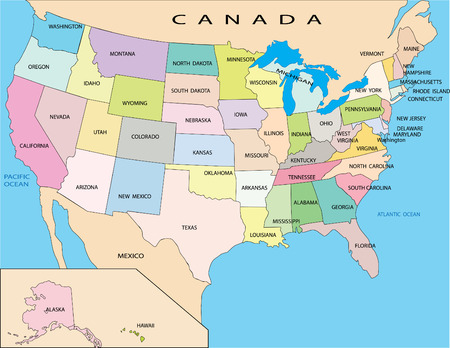 west usa: Political map of USA Illustration