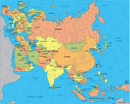 Political map of Eurasia Illustration
