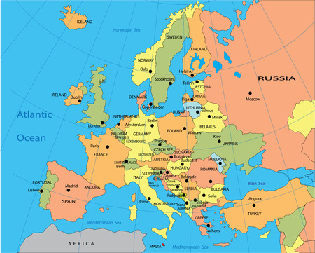 west europe: Political map of Europe Illustration
