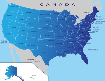 mapa politico: Mapa pol�tico de EE.UU. Vectores