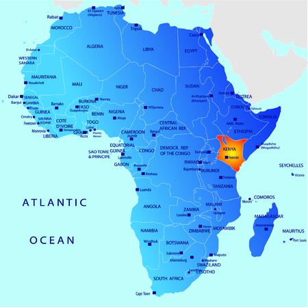 mapa politico: Mapa pol�tico de �frica, Kenia
