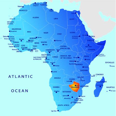 simbabwe: Politische Karte von Afrika, Simbabwe