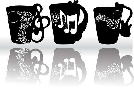 Cups with notes Vector