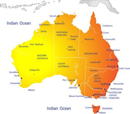 political map: Mapa pol�tico de Australia