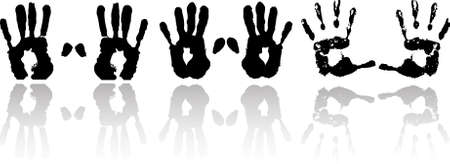 black and white hand print  Vector