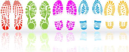 pies: Ilustraci�n vectorial de varios zapatos de impresi�n Vectores