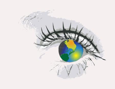 Eye  with globe  Illustration