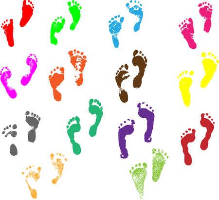 foot print: pied d'impression couleur Illustration