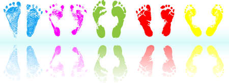 colored  foot print  Vector