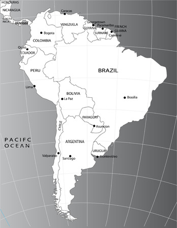 south east: Political map of South America