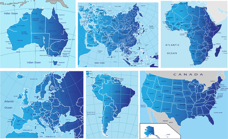 mapa politico: Mapa pol�tico de los continentes Vectores