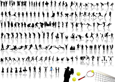 Silhouettes of people and children Vector