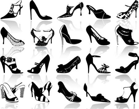 walking shoes: Silhouettes of shoes