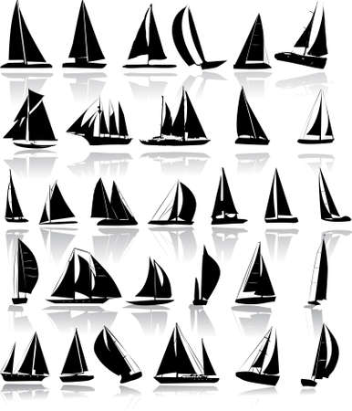 Silhouettes of yachts Stock Vector - 4937207