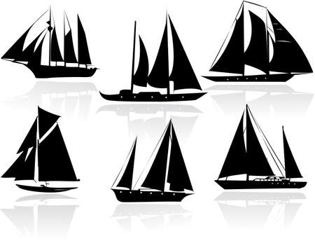 Silhouettes of yachts Vector