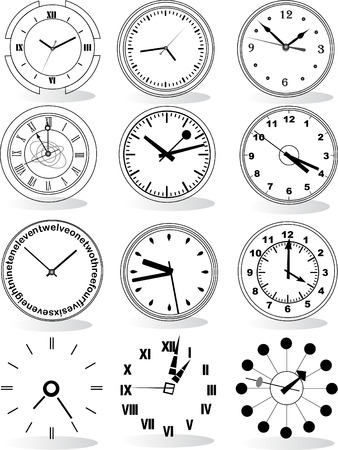 Illustration of different clocks  Stock Vector - 4937219