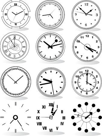 twenty four hours: Illustration of different clocks