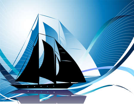 Silhouettes of yachts Stock Vector - 4937221