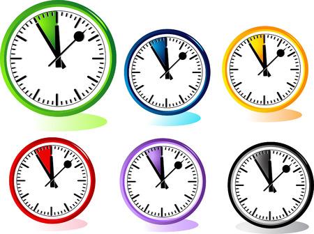midnight hour: Illustration of clocks