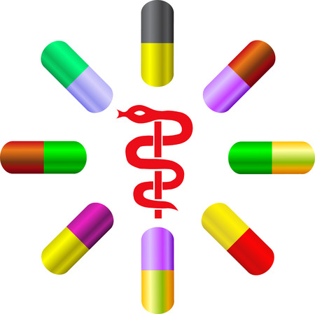 asclepius: vector colorful capsules