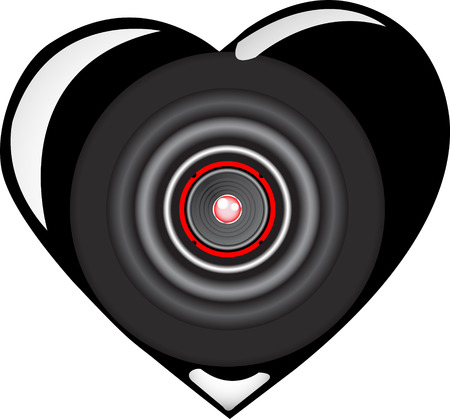 emitting: vector black loudspeaker heart Illustration