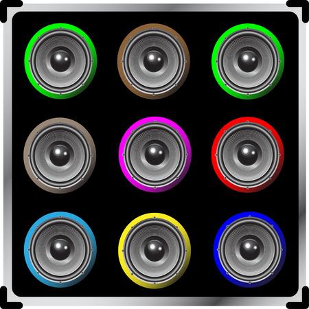 grooves: vector colored loudspeaker