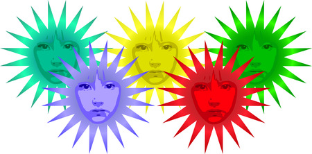 vector colorful flower shaped suns with faces  Vector