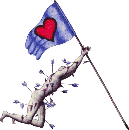 vector love warrior holding the flag of love in moment of dying