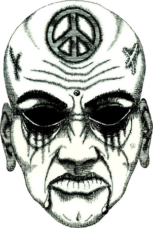 vector tattoo daemon face without eyes Vector