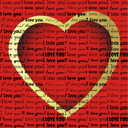 I love you in different styles with heart in background Stock Vector - 4979135