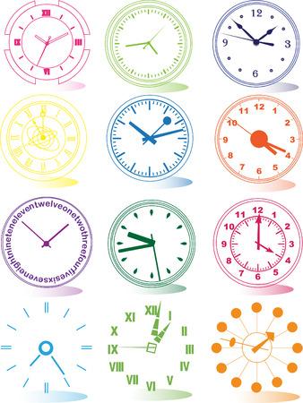 midnight hour: Illustration of different clocks